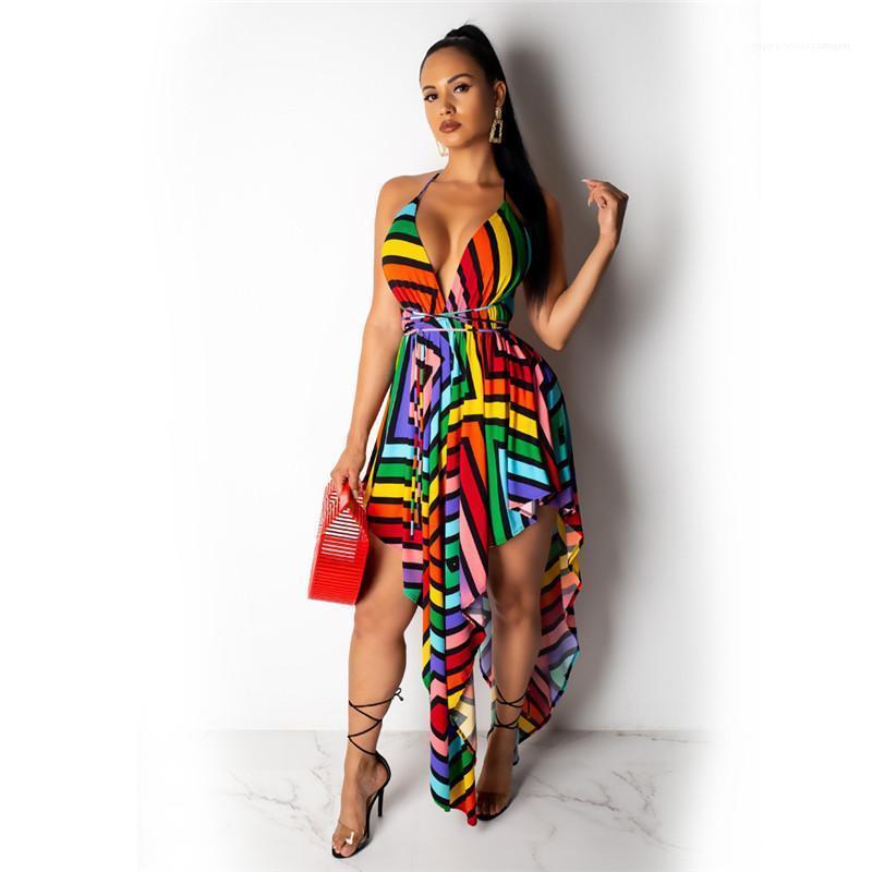 Askı Derin V Yaka İpli Elbiseler Seksi Stil Kadın Giyim Çizgili Baskılı Günlük Elbiseler Yaz Spagetti