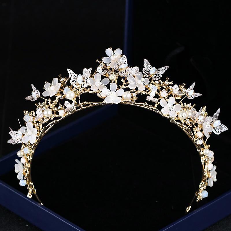 Pubres nupciales Coronas de boda Mariposa Flor de cristal Tocado de corona de oro Barroco Crown Accesorios de boda Joyería nupcial Tiara