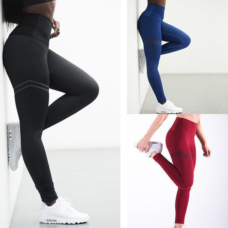 4 컬러 S-XL 여자 높은 허리 레깅스 요가 바지 체육관 피트니스 스포츠 바지 조깅 레깅스 58156407638864