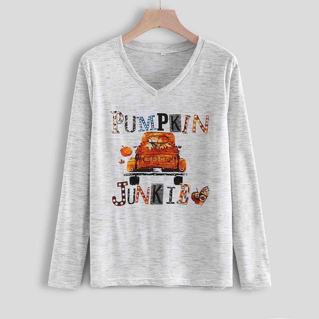 Al por mayor de la camiseta de Halloween del otoño Pumpking Camiseta con estampado de cuello redondo camisetas de manga larga de la blusa de las tapas ocasionales para las mujeres
