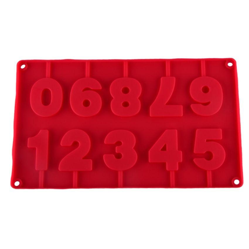 0-9 números de forma Lolli silicona molde de la torta 3D Herramientas hecha a mano del lechón El chocolate se pega Lolli molde con palillos decoración del partido