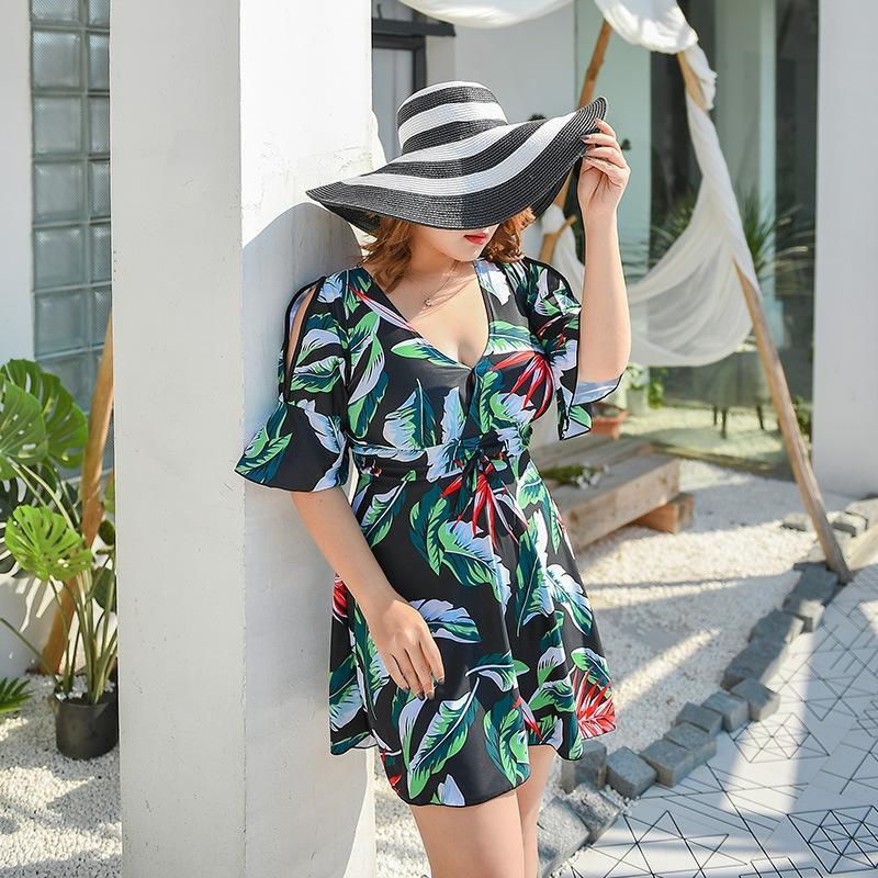 SPF3B 2020 платье нового плюс толстых большого размером купальник жир MM200 похудение живот покрытия консервативно один цельное платье женщин купальника дополнительного крупа