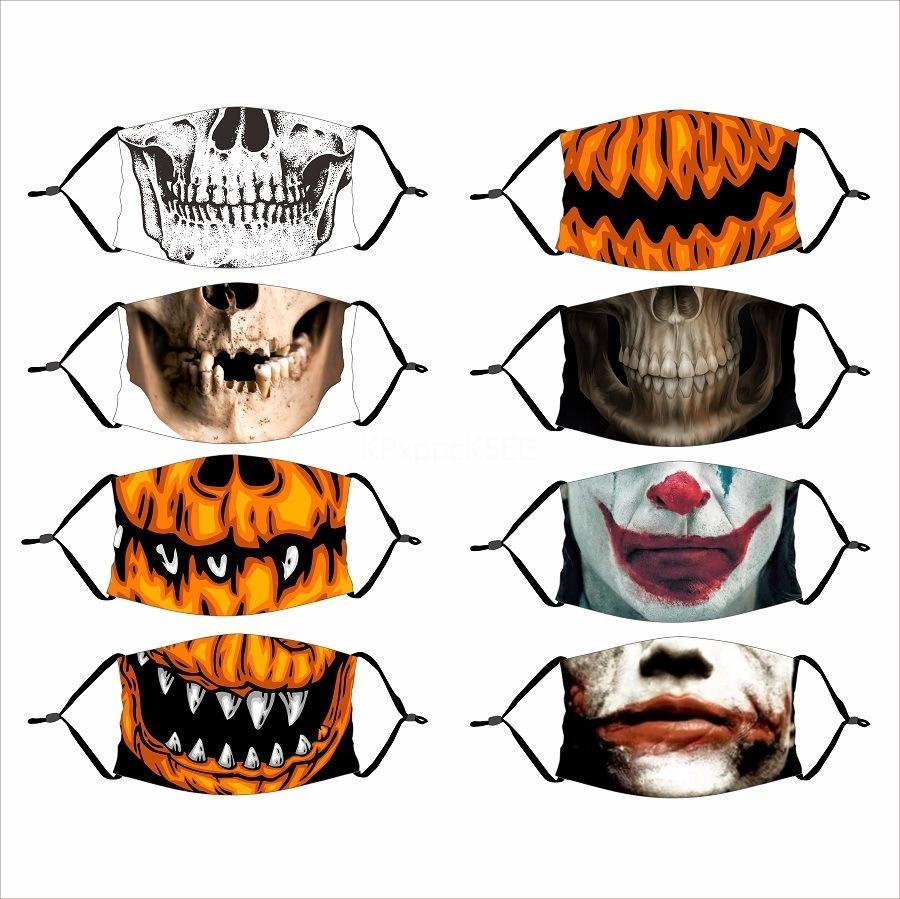 Im Lager Tuch Design Gesicht Halloween Straw Maske Staub Waschbar Wiederverwendbare Halloween Straw Schablonen mit 2 1Pcs Filtermatte Schutz Unisex Mou # 781