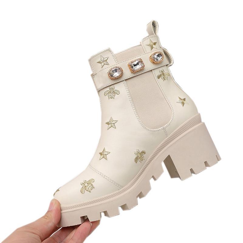 Top qualité Bottes hiver Gucci  Lady Chaussures Femme Femme bottillons talon bas lacent ronde Bottes Toe avec la boîte