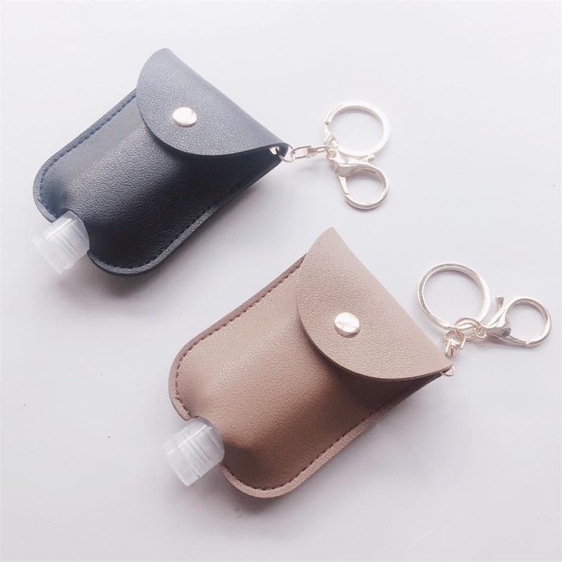 Llaveros cubierta de cuero vacía Vainas desinfectante de la mano titular del botón de la manga de moda colgante pequeña bolsa de almacenamiento oblonga C2 5 2cc