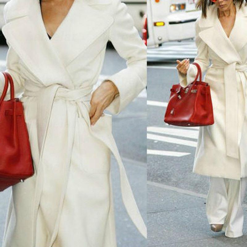 Laipelar Frauen Winter-Kaschmir-Mäntel Wollmischung Mantel mit Gürtel lange Winter Cardigan Weiß Overcoat Outwear Weiseluxuxfrauen Top-Ausstattung