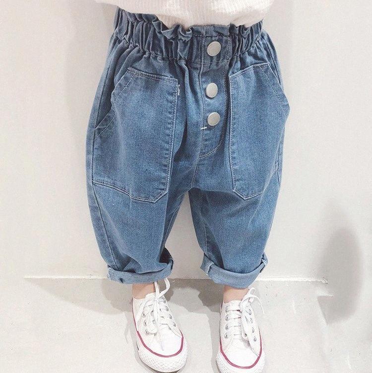 2020 лета девушки свободные джинсы Пант Дети Дети Повседневный Denim брюки 5k2P #