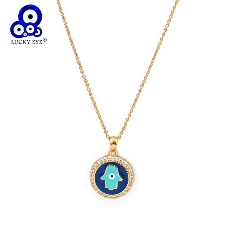 Cadeia Colar sorte Eye Fatima Hamsa Mão Evil Eye cor do ouro redonda Colar Pingente por Mulheres Meninas moda jóias BD365