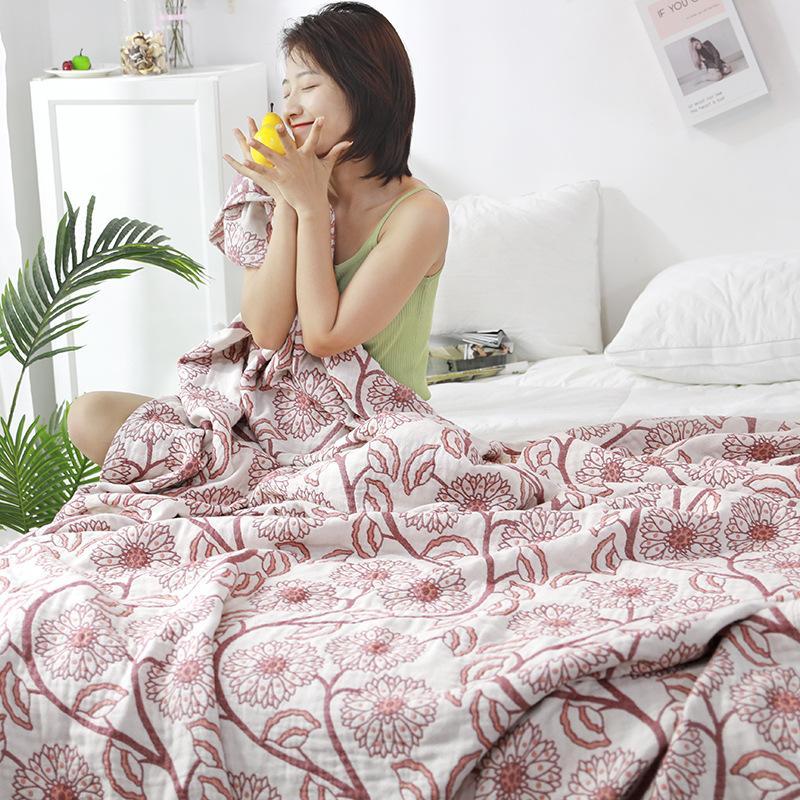 زهرة القطن منشفة الموضوع غطاء للكبار البطانيات رمي الاطفال لينة تنفس المفرش فرش السرير الصيف على أريكة / سرير