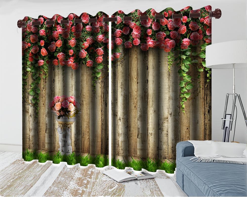 Floral personalizados em 3D Cortina-de-rosa das flores delicadas na Madeira decoração da parede romântico floral moderno 3d Janela Cortinas
