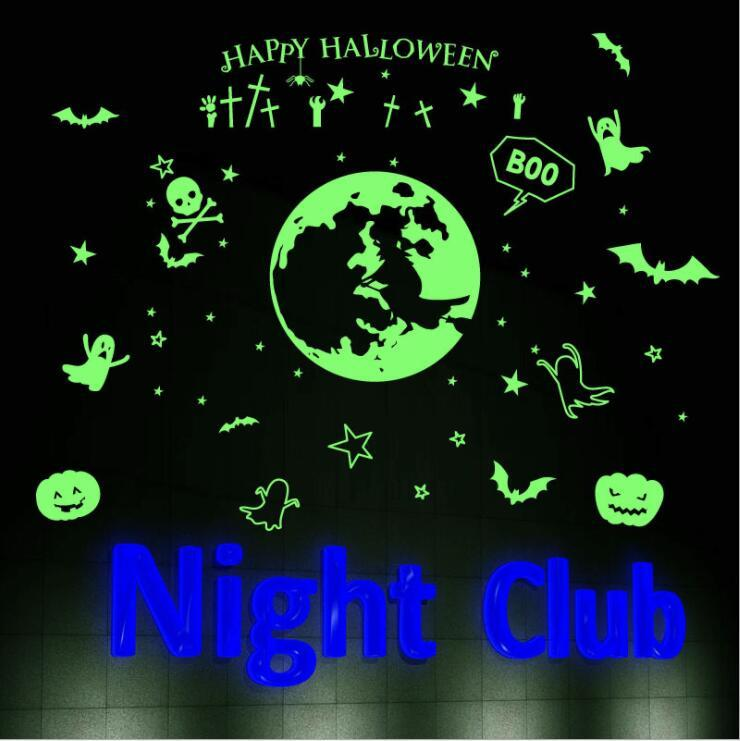 Wall Stickers Happy Halloween brilho luminoso etiqueta noite KTV clube fluorescente Adesivos Decal Halloween Início Janela Parede Decoração DWF730