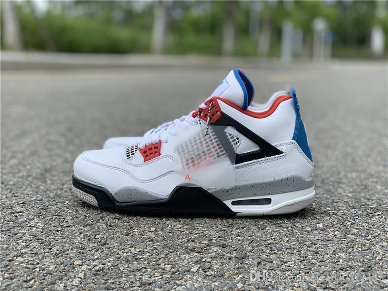 En Yeni Otantik Hava OG 4 Ne Erkekler Basketbol Ayakkabı Beyaz Çimento Ateş Kırmızı Askeri Mavi Karışım Retro Spor Sneakers CI1184-146 ile Kutusu