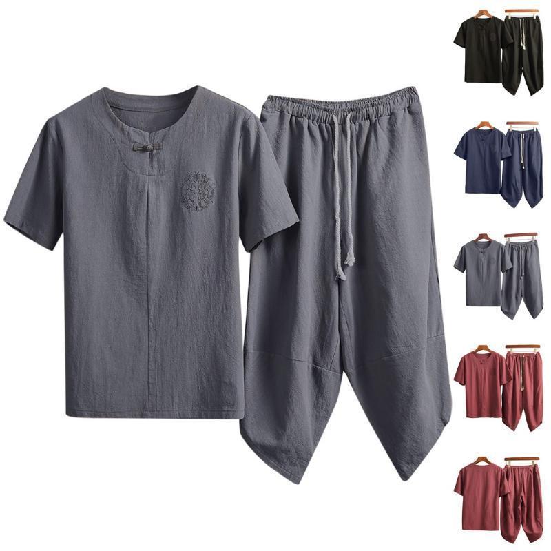 Мужские костюмы хлопка и льняные сплошного цвета лета с короткими рукавами Обрезанные брюки Костюм Повседневный вокруг шеи