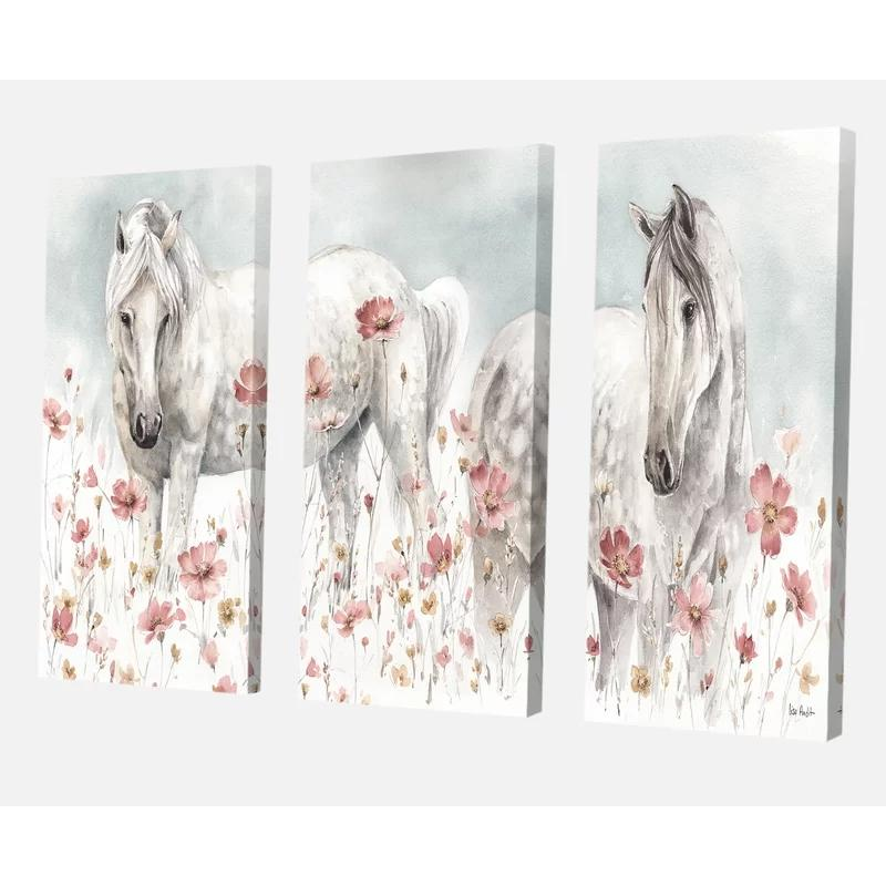 Modular Canvas White Horses Painting Home Decor Pink Blossom Pictures Modern Prints 3 Set Posters For Living Room Wall Art Frame