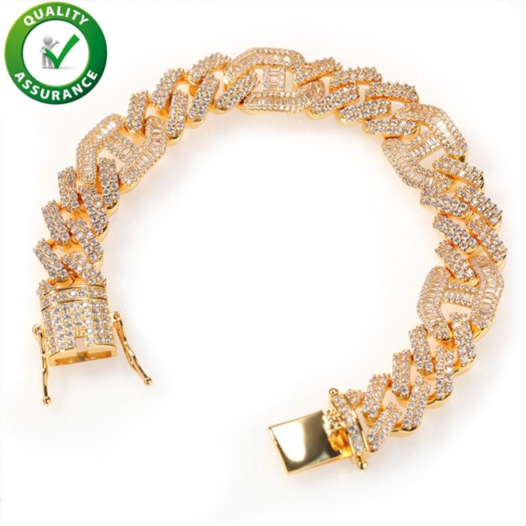 Charm Bracelet Oro Argento Mens collana di diamanti Tennis Designer catena di lusso monili di Hip Hop Bling Cuban link Rapper Accessori di moda DJ