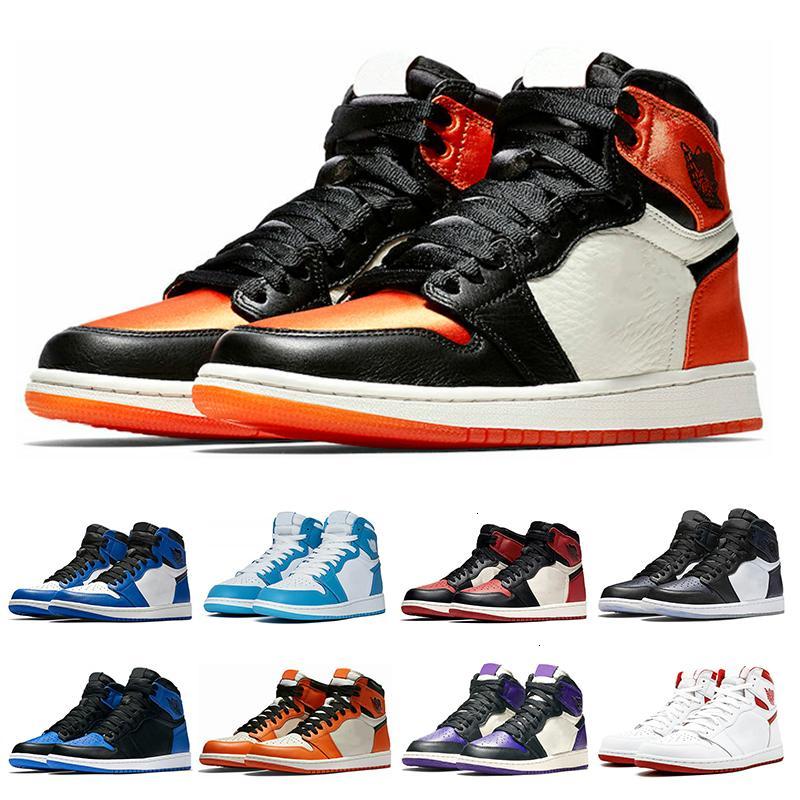 1s baratos zapatillas de baloncesto para hombre máximo tribunal de pino verde púrpura Chicago OG 1 Juego azul real Escudo sp NakeskinJordánzapato Retros