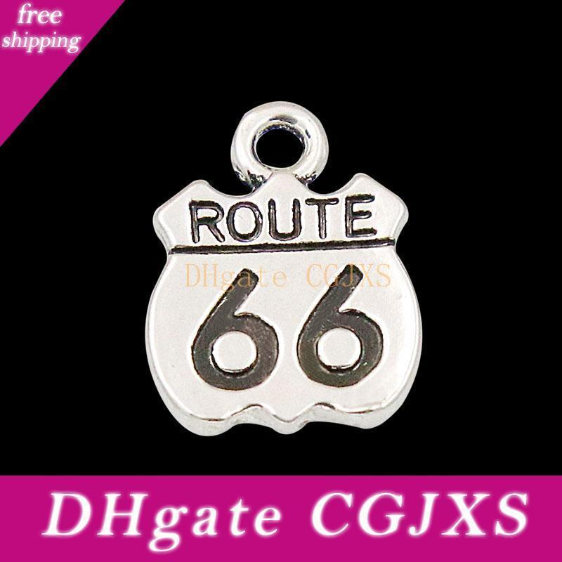 Top Quality Us The Mother Road Route 66 Charms Vintage Alloy Highway Sign Charms 50pcs Aac102