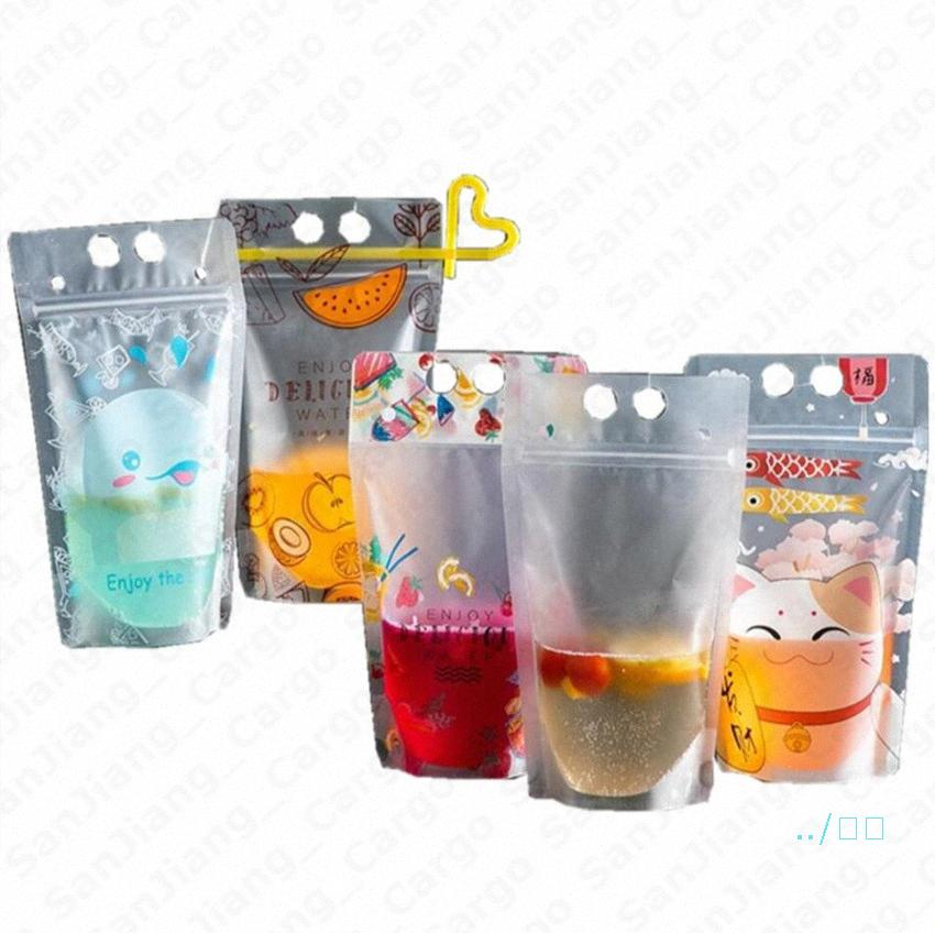 Self-sealed Drink Container Set Transparent Beverage Juice Milk Drinks Pouches Bag With Zipper Portable Stand Up Drinks Cup With Straw j2R8#