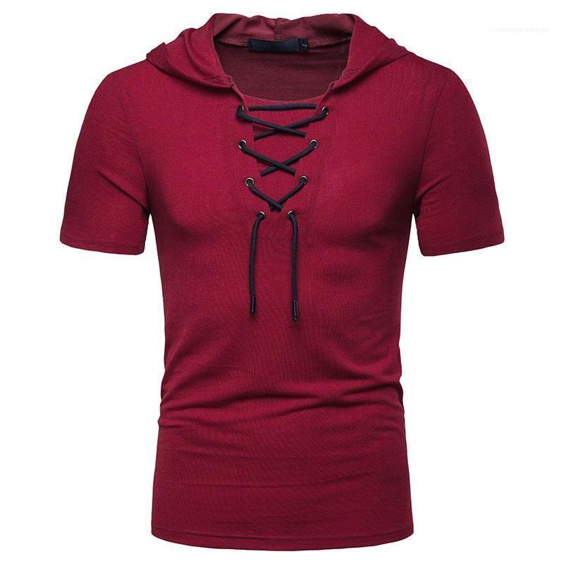 Manches Sweatshirts Mode homme vêtements décontractés pour hommes en vrac solide Bandage homme Sweats à capuche été capuche manches courtes