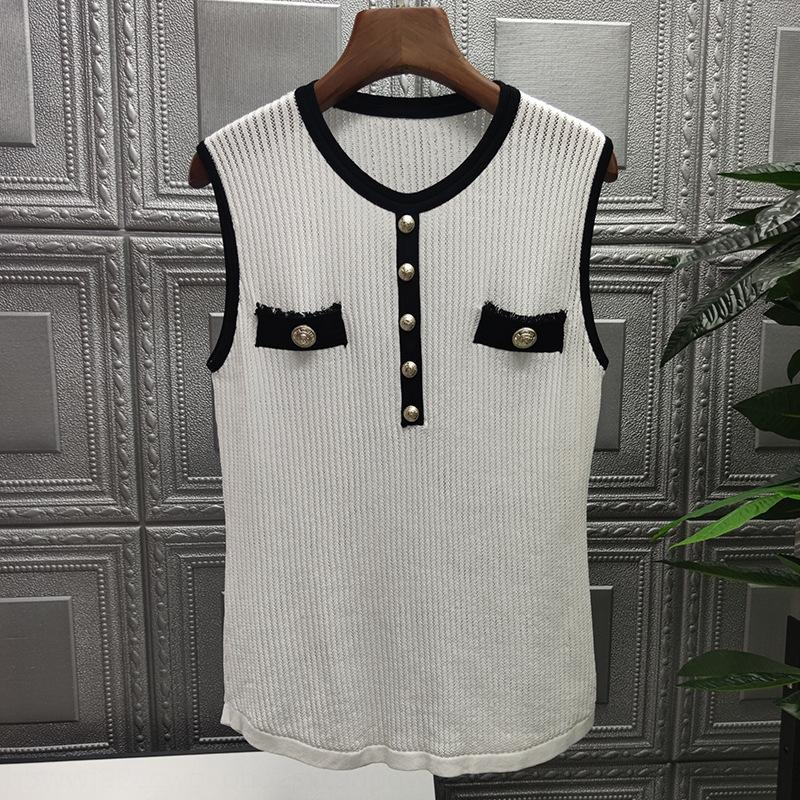 Women's knitted vest contrast color 2020 Summer new single wear western style hollow graceful top T-shirt Top T-shirt 102952