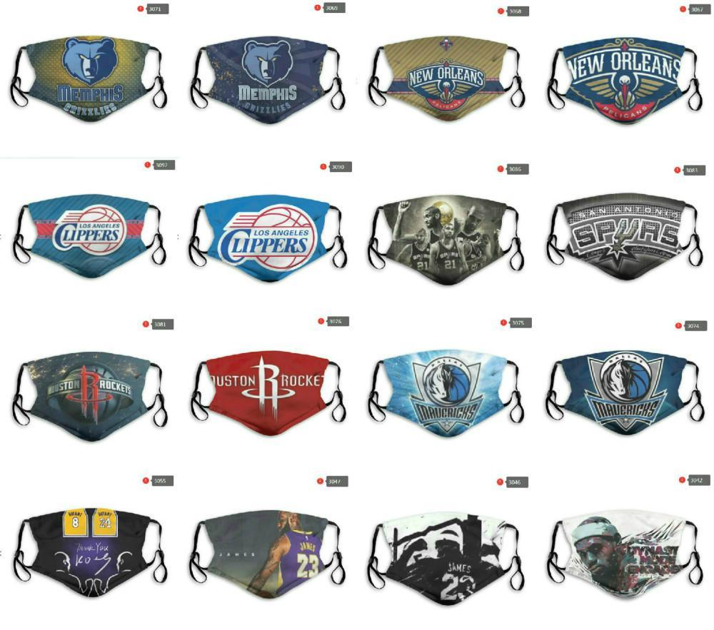 Yeniden kullanılabilir Lüks Tasarımcı Toz Yüz Maskeleri 5 katmanlı tekrarlanabilir Maske All-Star Takımı Rockets Lakers Mavericks Grizzlies No.24 James 23
