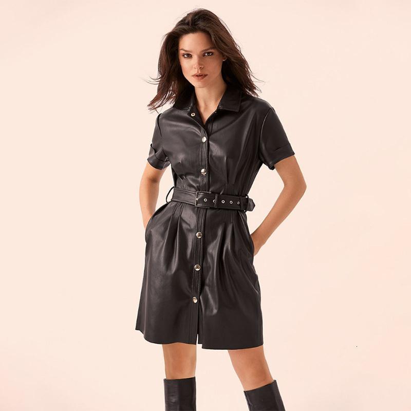 Donne sexy Sashes Pu Leather una gira giù manica corta collare partito Linea Ladies Dress Tasche elegante 2019 di autunno di modo Mini
