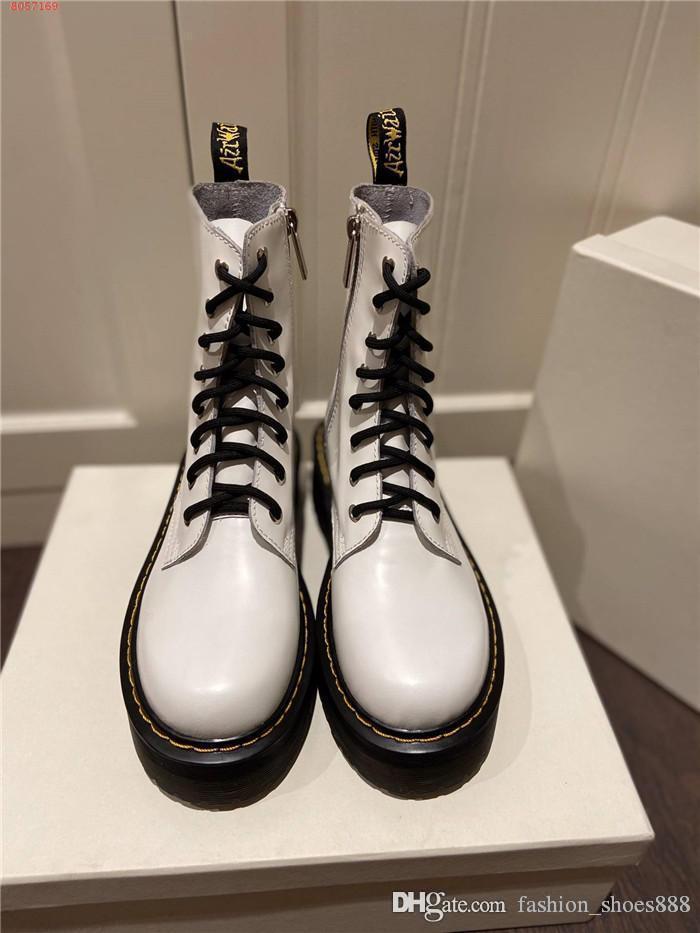 botas no início do outono couro preto com cadarço alta top tornozelo, Martin botas, solas grossas de couro fundo plano Metade Botas, com o tamanho da caixa de 35-40