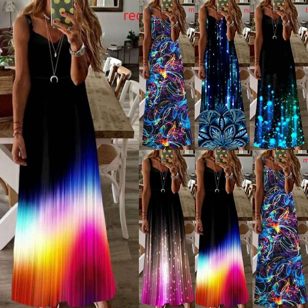 Luminous Spaghetti Strap Dresses Women Plus Size Gradient Floral Backless Casual Dress Summer Slim Patchwork Womens Designer Clothing