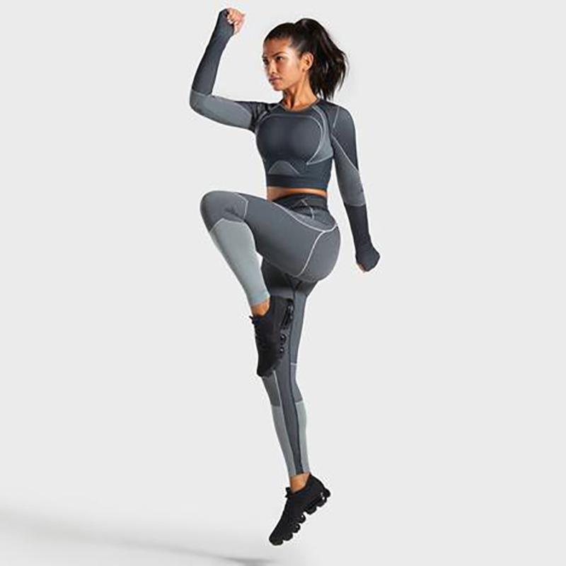 2pcs / set Vital Suit deporte de las mujeres de manga larga de la aptitud de la cosecha de la tapa + de cintura alta energía sin fisuras polainas entrenamiento de la gimnasia apretado Set Yoga
