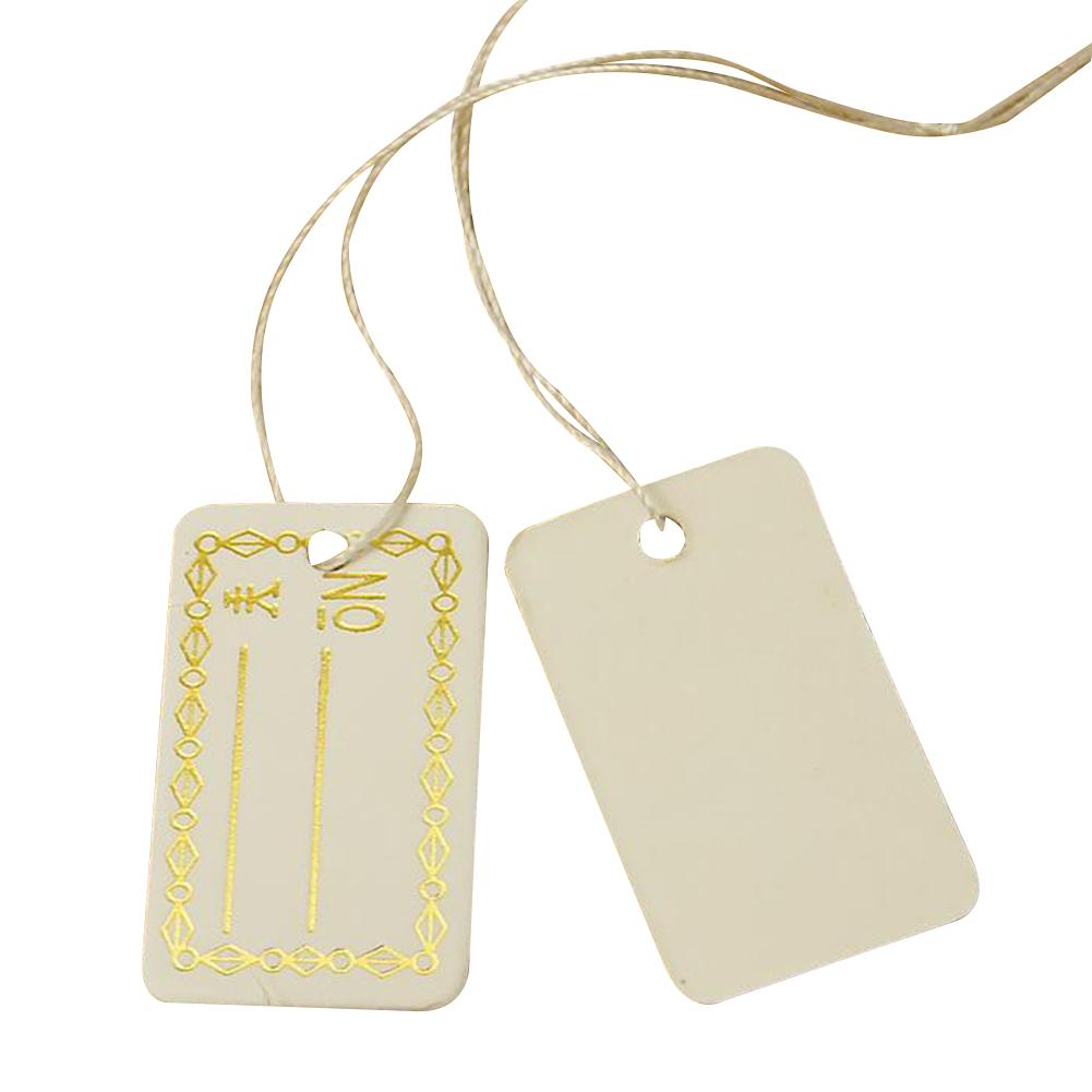 White Price Tags Blank Paper Label Rectangular Cards With String 500Pcs