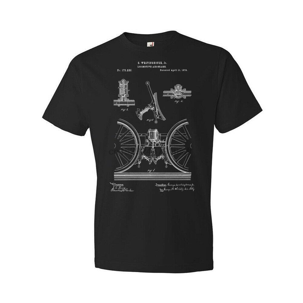 Locomotive Train Air Brake shirt Engenharia Tee Mecânico Blueprint presente Train