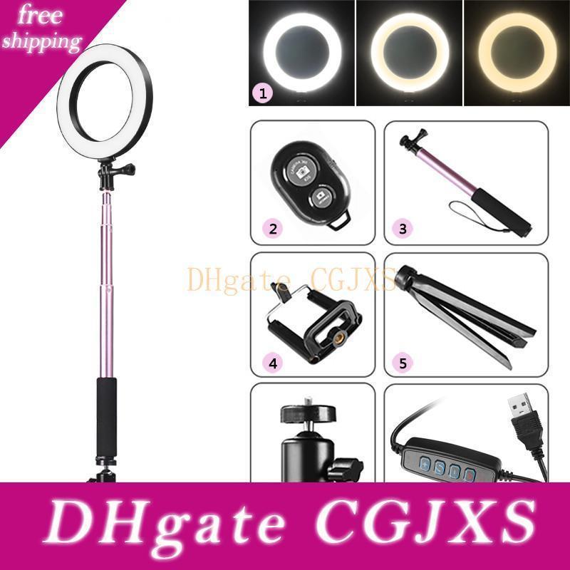 Fotografía regulable LED selfie anillo de luz Youtube video en vivo 3500 -5500k Foto luz del estudio con soporte para teléfono USB Plug trípode