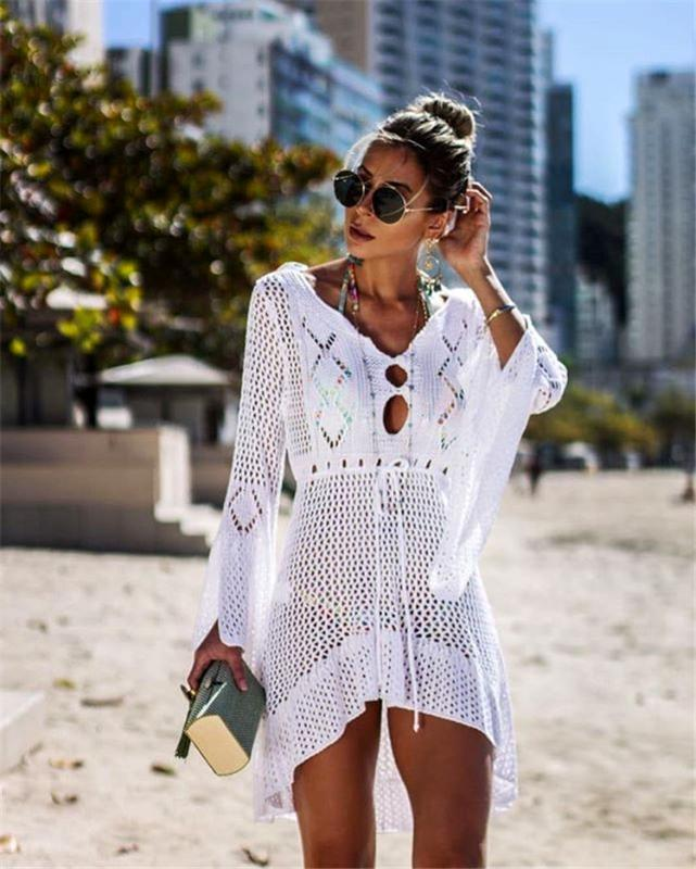Sexy Bikini-Vertuschung-Frauen-Badeanzug-Vertuschung-Strand-Badeanzug-Strand-Abnutzung Knitting Swimwear Netzkleid Tunika Robe
