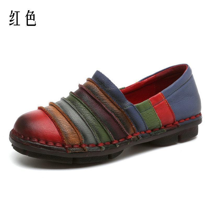 Couro genuíno Nacional Estilo Vintage costurado à mão sapatos femininos Luta Cor Flat Shoes Tamanho Grande 42 Loafers das mulheres