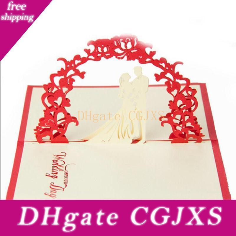 Eco -Friendly Valentine Day Wedding Cards Invitations Delicacy Gift Handmade Creative 3d Cards Pop Up Gift 10 *15cm Red Color