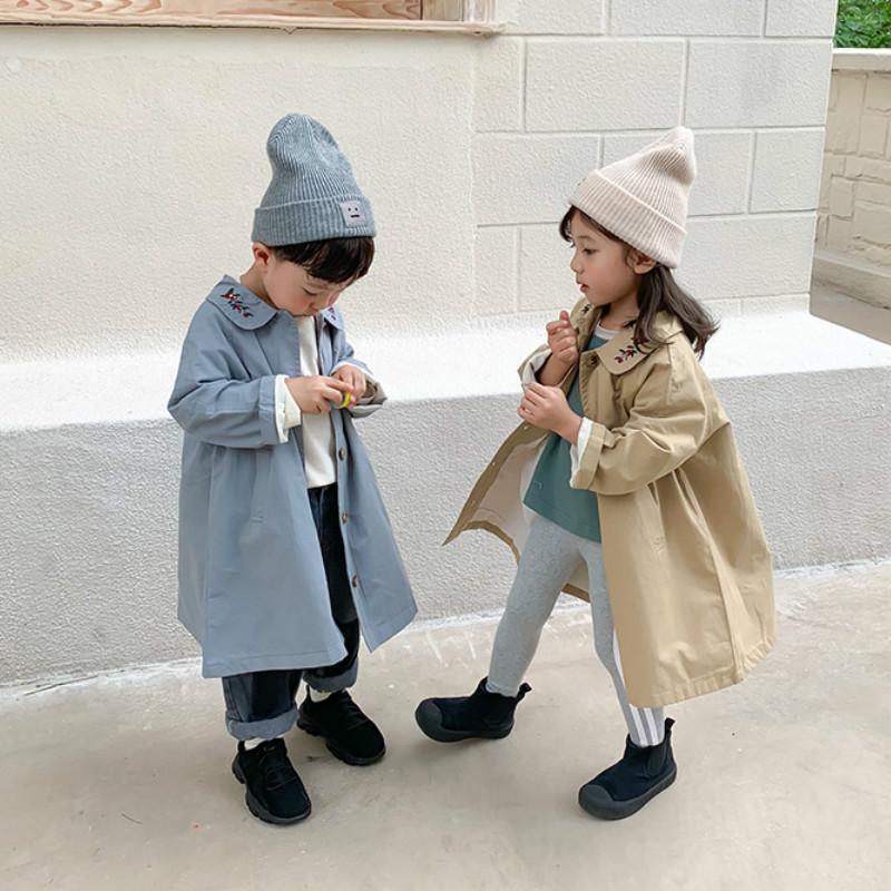 2020 Sonbahar Yeni Geliş Erkekler ve Kızlar Moda Vintage Coat Çocuklar İşlemeli Yaka Ceketler Çocuk Ceket