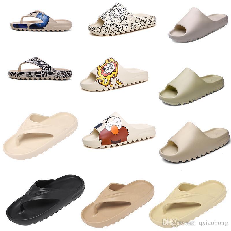 tamaño de lujo de espuma Runner Kanye West zapatillas de hueso blanca Triple Negro Resina diapositivas sandalias mujeres de los hombres de moda de los holgazanes Zapatilla 35-45