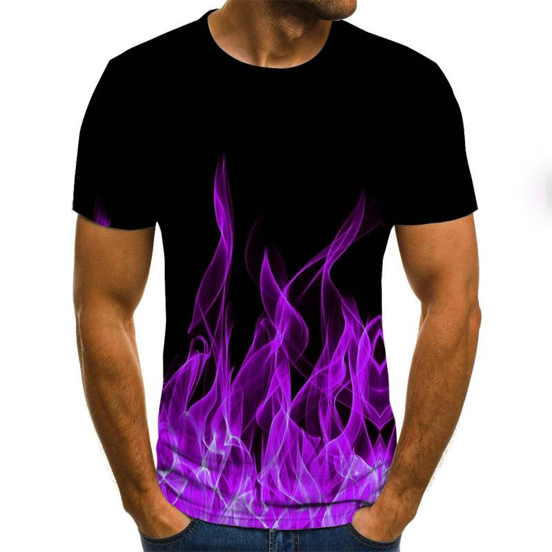 Size S to 6XL Men's 2020 New Fashion Multi-color Flame Printing 3D Short Sleeve Crew Neck Men's Summer T-shirt Clothing