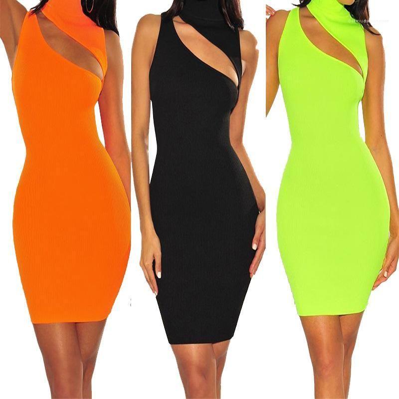 Vestidos atractivas ahuecan hacia fuera vestidos de cuello mujeres ropa de moda de verano Partido diseñador para mujer sin mangas de color sólido de la tortuga