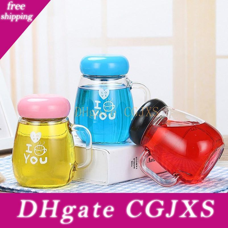 Custom Logo Creative Thickened Glass Penguin Water Bottles Big Belly Large Caliber Water Cup With Handle With Tea Leak Color Box 6 Colors Cf