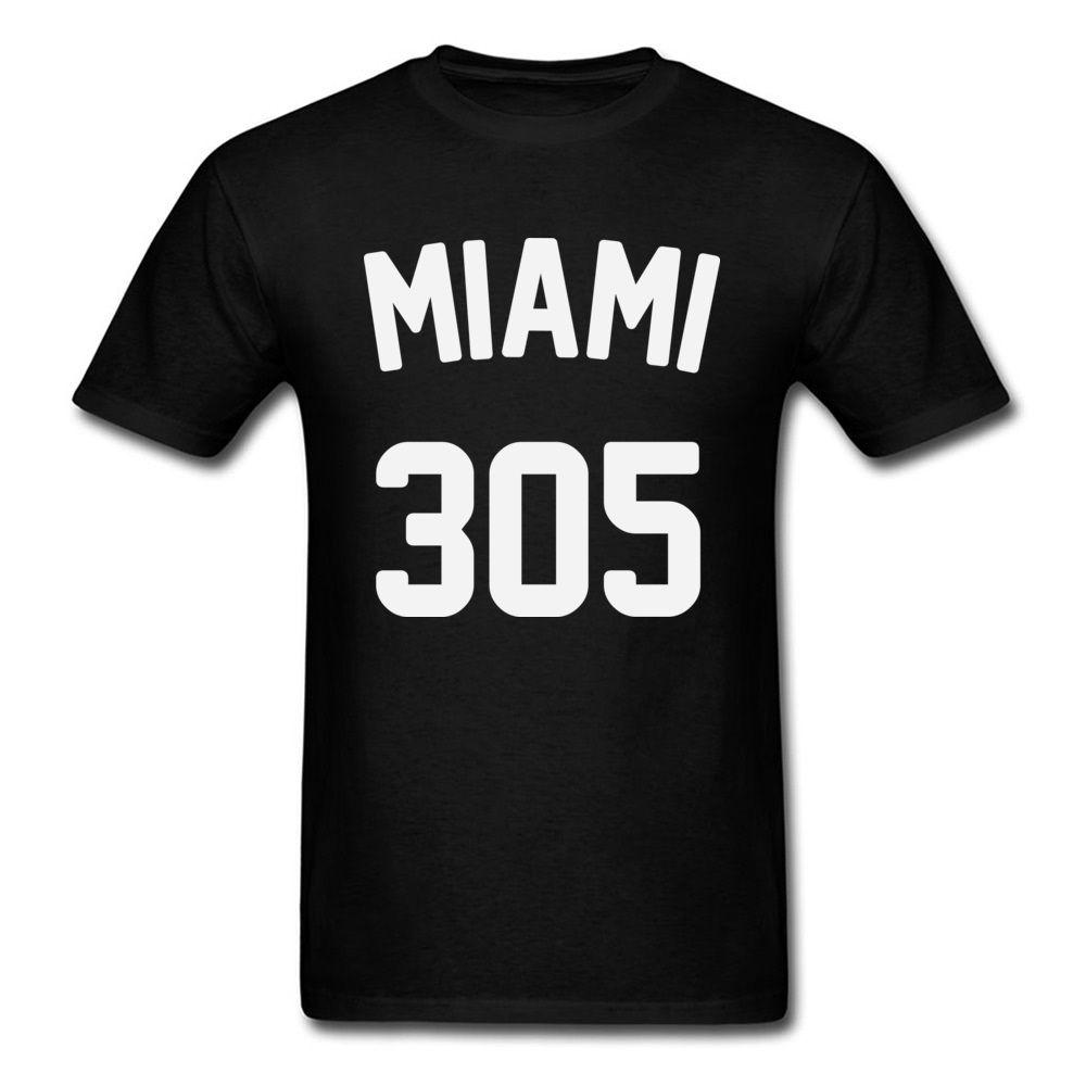 Stati Uniti Miami 305 uomini maglietta 2018 parti superiori di modo camice girocollo Estate Autunno 100% cotone T-shirt semplice abbigliamento camicia stile