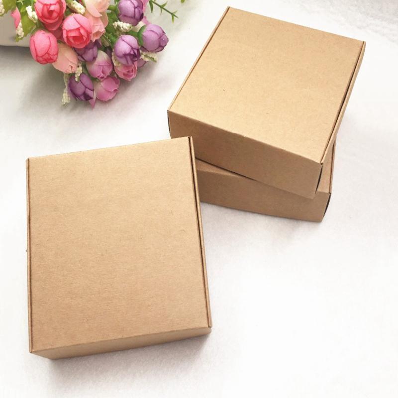 100Pcs Kraft Paper Box Nizza Kraft scatola di imballaggio di piccola dimensione-marrone