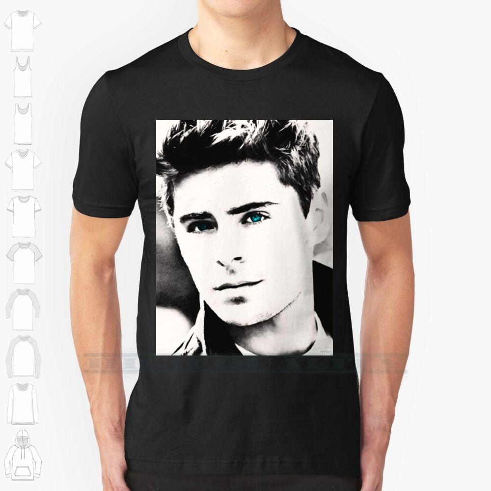 Zac Efron High School Musical 6XL Erkekler Kadınlar Pamuk Yeni Soğuk Tee T Shirt Büyük Boyutu için Zac Efron Özel Tasarım Baskı