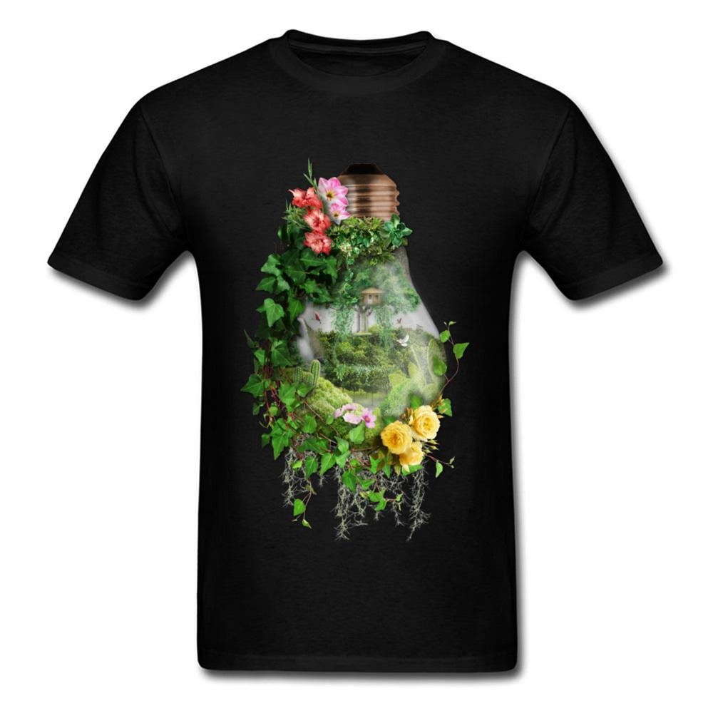 Bulb Terrarium O Neck T Shirts Garden Of Peace Tees Short Sleeve Dominant Full Cotton Personalized T-shirts Mens Summer 2018