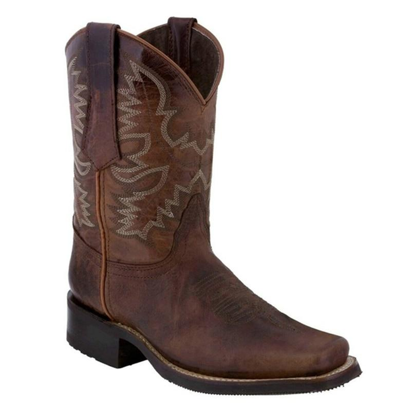 Kadınlar Sivri Burun Kadın ayakkabı Marka Kabartma Süet Deri Ayakkabı Orta buzağı Chunky takozları Boot için Batı Kovboy Çizmeleri