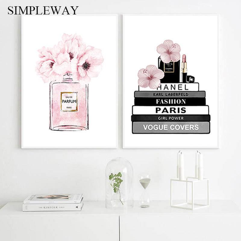 Çiçek Parfüm Şişesi Moda Kitap Tuval Boyama Makyaj Poster ve Baskı Duvar Sanatı Resim Modern Kız Kadın Odası Dekorasyon
