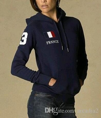 Donna Solid Polo Felpe USA Francia Italia Bandiera nazionale grande cavallo di ricamo da jogging felpate 100% Cotton Jacket Sport cappotti con cappuccio S-XL