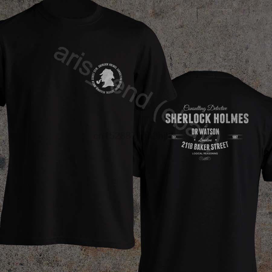 Sherlock Holmes T-shirt Dr. Watson Consulting Detective 221B Baker Street T Shirt 2020 New Verão Homens 100% Algodão Arrefecer Curto