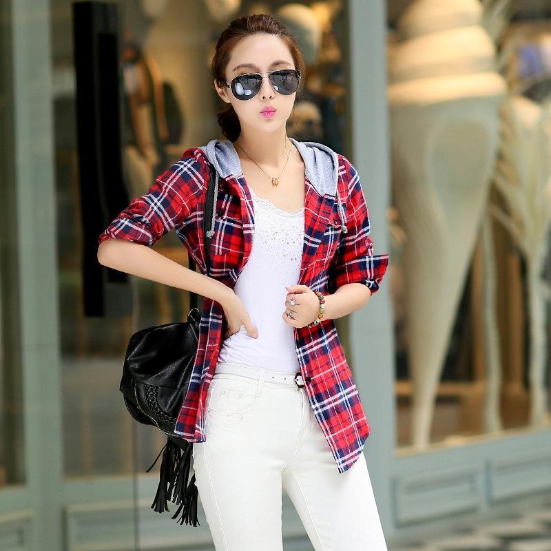 K5Cqc Jiang Yixuan estilo coreano 2019 de las mujeres largas de la manga de la camisa de tela escocesa del otoño de las mujeres Nuevo cepillado sombrero camisa a cuadros