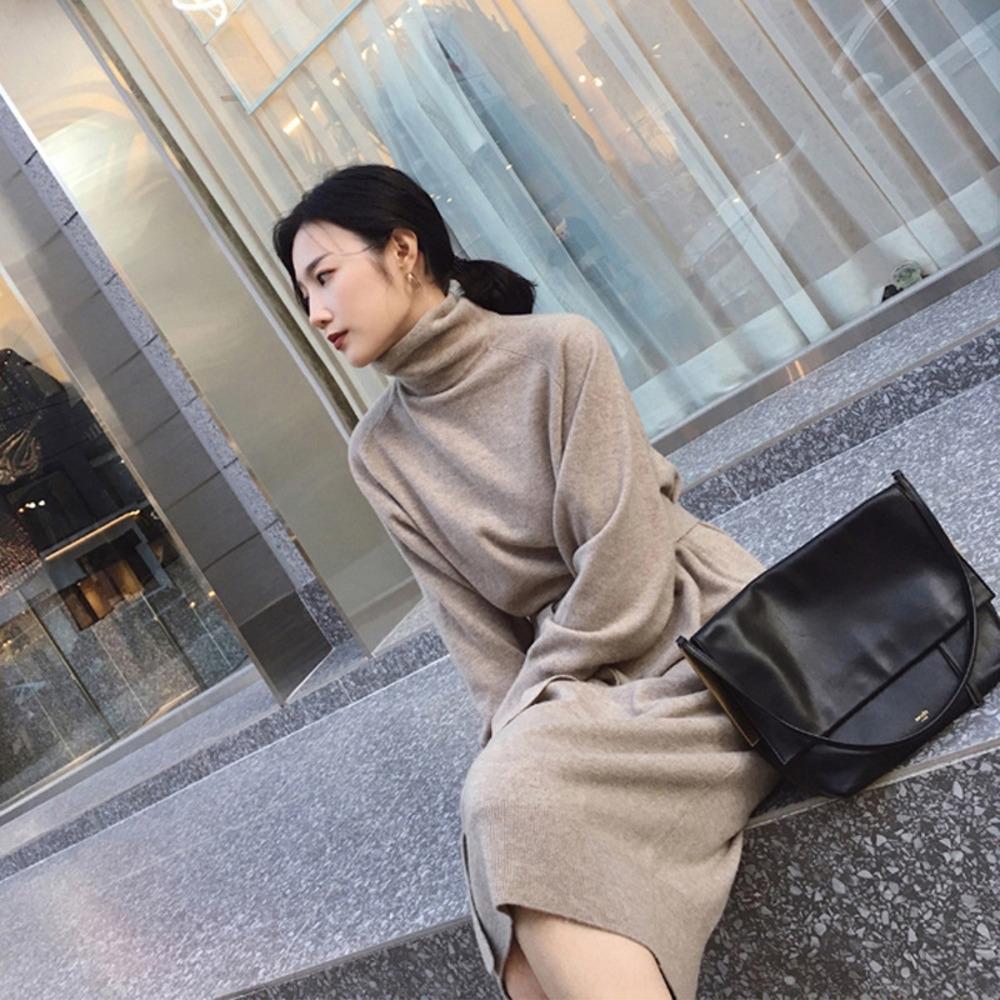 AwAm0 0CNby 2020 chandail et une base d'hiver gracieuse robe automne robe pull ceinture lâche col haut Nouveau mi-longueur tricot